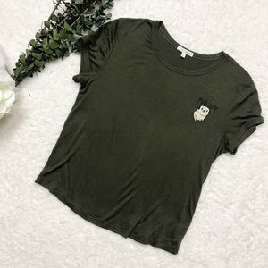 Pug Life | Embroidered Olive Green Tee